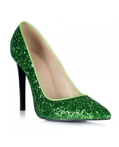 Pantofi verzi din piele naturala Marissa S102 - sau Orice Culoare