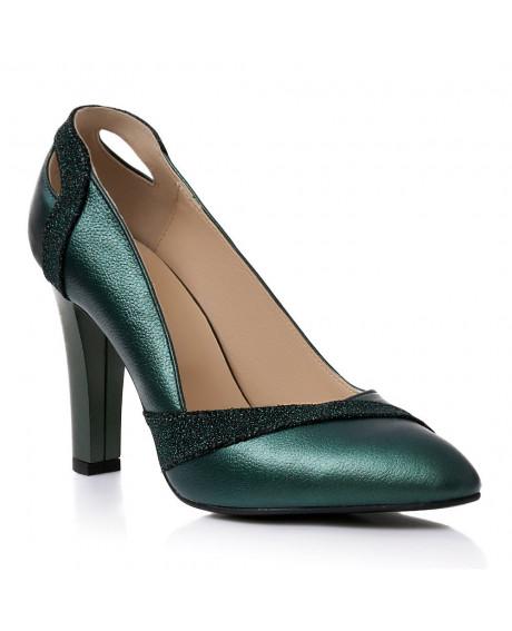 Pantofi piele verde sidef Samantha S45 - sau Orice Culoare