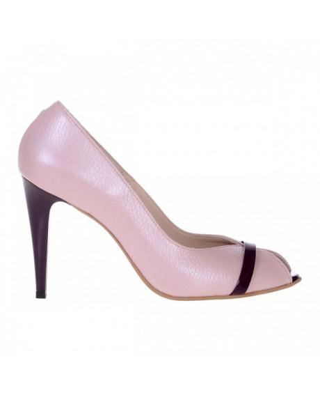 Pantofi rose din piele naturala Discret S10 - sau Orice Culoare