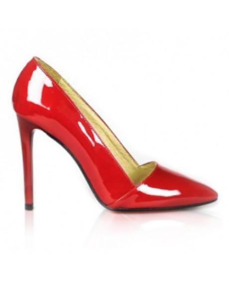 Pantofi rosii din piele lacuita Carol L15 - sau Orice Culoare