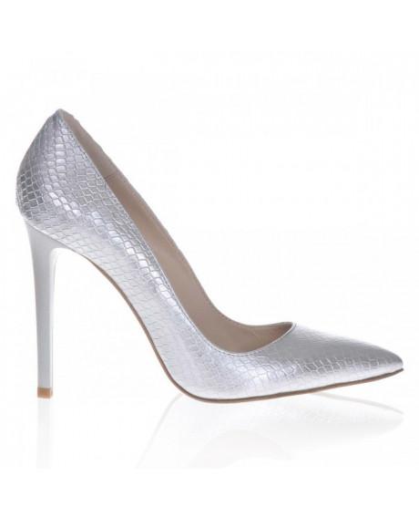 Pantofi Stiletto argintiu sarpe Lucy S109 - sau Orice Culoare