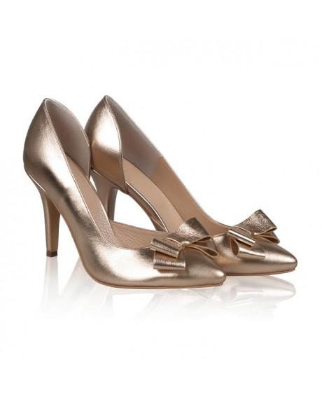 Pantofi aurii din piele naturala Lovett N105 - sau Orice Culoare
