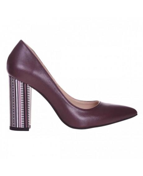 Pantofi Stiletto bordo din piele naturala Missa S77 - sau Orice Culoare