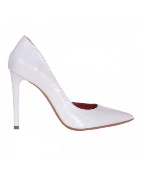Pantofi Stiletto Pandora din piele naturala croco alb S70 - sau Orice Culoare