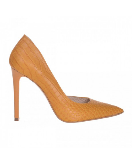 Pantofi Stiletto Pandora din piele naturala croco mustar S61 - sau Orice Culoare