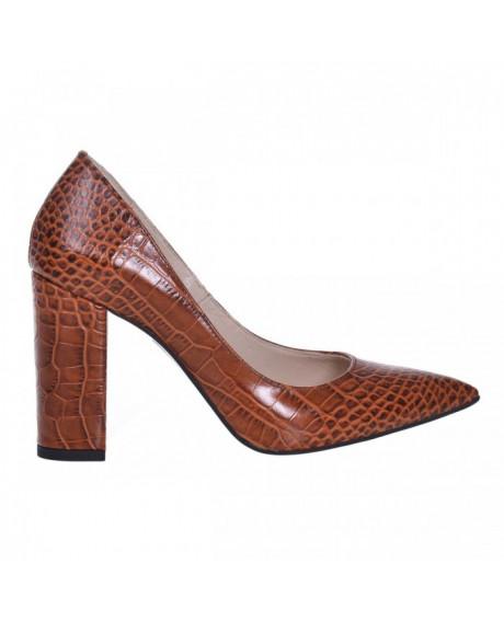 Pantofi Stiletto din piele naturala croco maro Spice S77 - sau Orice Culoare