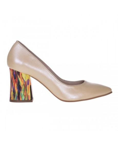 Pantofi Stiletto galben pal din piele naturala Zorina S7 - sau Orice Culoare