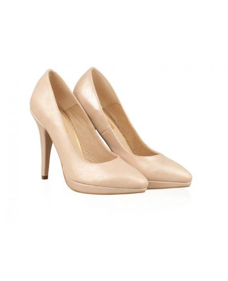 Pantofi Stiletto nude din piele naturala Magic N78 - sau Orice Culoare