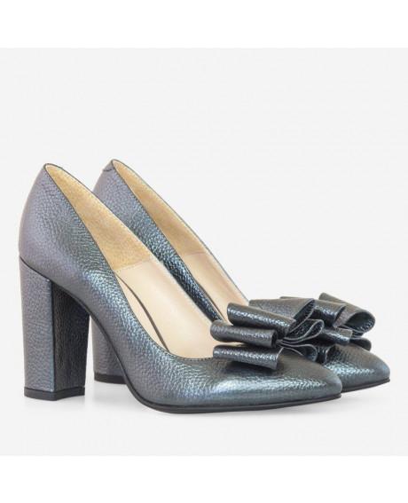 Pantofi Hayley piele naturala gri antracit D90 - sau Orice Culoare