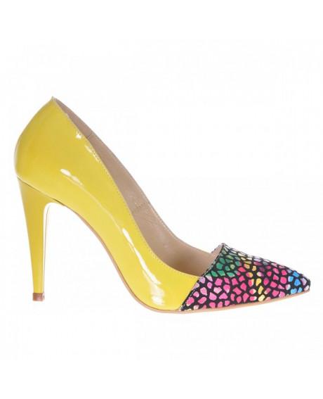 Pantofi piele naturala Medeea, galben S77 - sau Orice Culoare