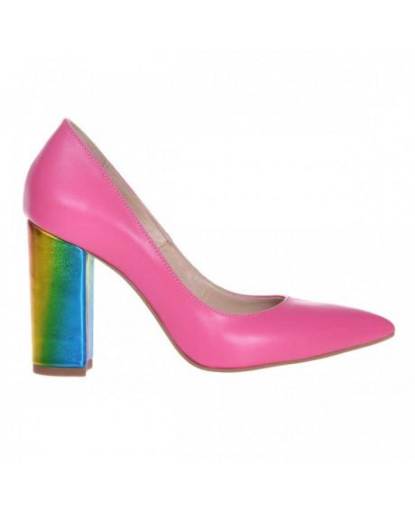 Pantofi Stiletto roz din piele naturala Evea S24 - sau Orice Culoare