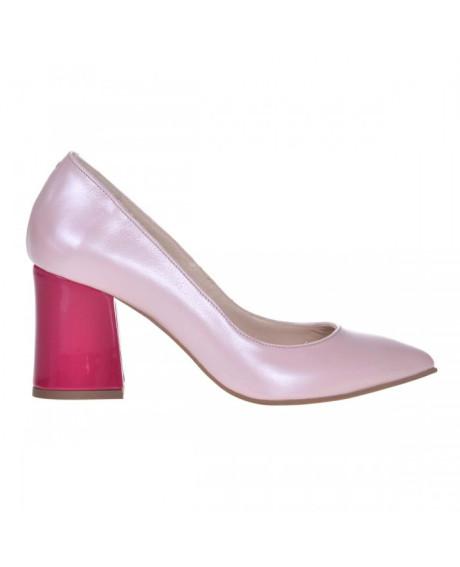 Pantofi Stiletto roz din piele naturala Zorina S5 - sau Orice Culoare