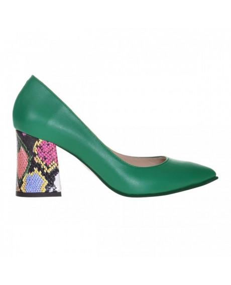 Pantofi Stiletto verde din piele naturala Zorina S9 - sau Orice Culoare