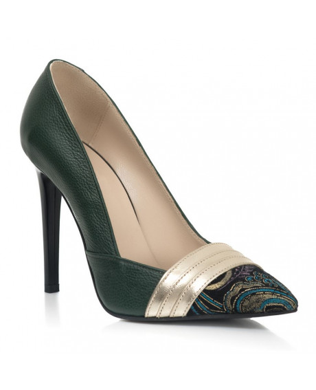Pantofi verzi Adele din piele naturala S10