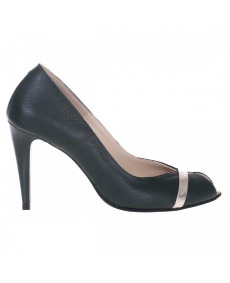 Pantofi verzi din piele naturala Discret S2 - sau Orice Culoare