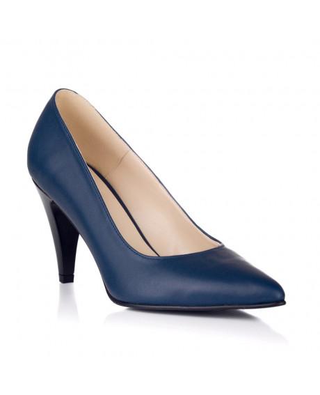 Pantofi piele Stiletto Simply bleumarin V04