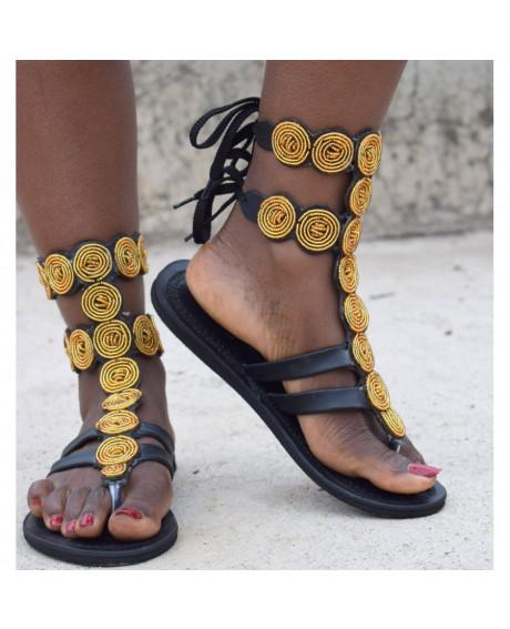 Sandale Tribal Model Auriu/Negru