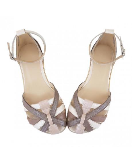Sandale grej din piele naturala Rozalia D101 - sau Orice Culoare