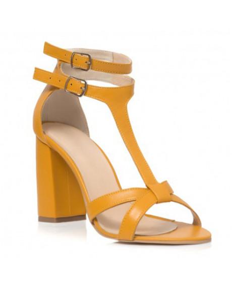Sandale galbene din piele naturala Lora C21 - sau orice culoare