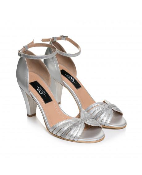 Sandale argintii din piele naturala Bela L23 - sau Orice Culoare