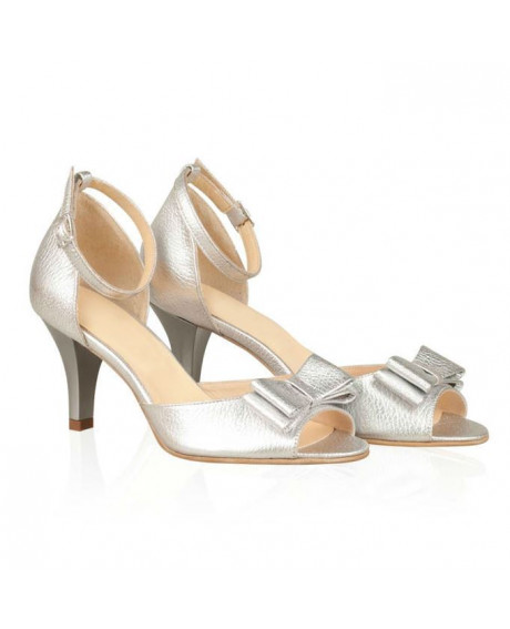 Sandale argintii din piele naturala Dancer N10 - sau orice culoare