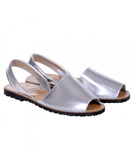 Sandale piele Avarca argintii