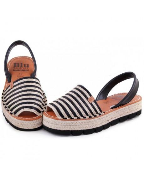 Sandale piele Avarca Bej/Negru cu platforma