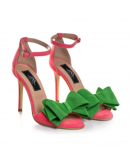 Sandale corai din piele intoarsa Lilia L80 - sau Orice Culoare