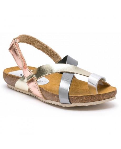 Sandale dama din piele naturala Aura, argintii