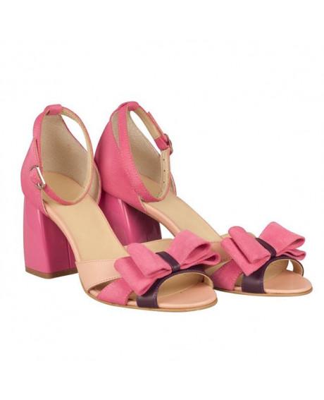 Sandale roze din piele naturala Cora N13 - sau orice culoare