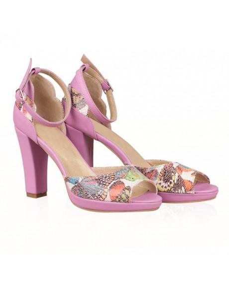 Sandale lila din piele naturala Sara N55 - sau orice culoare