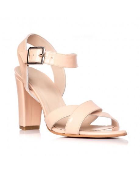 Sandale piele naturala Marina nude lac S6 - sau orice culoare