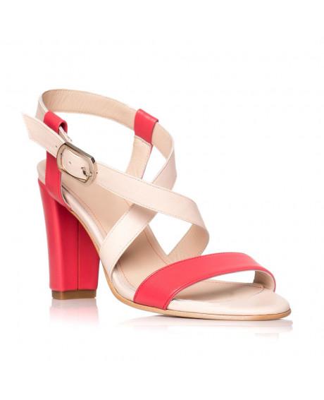 Sandale piele naturala Marina bej/rosu S4 - sau orice culoare