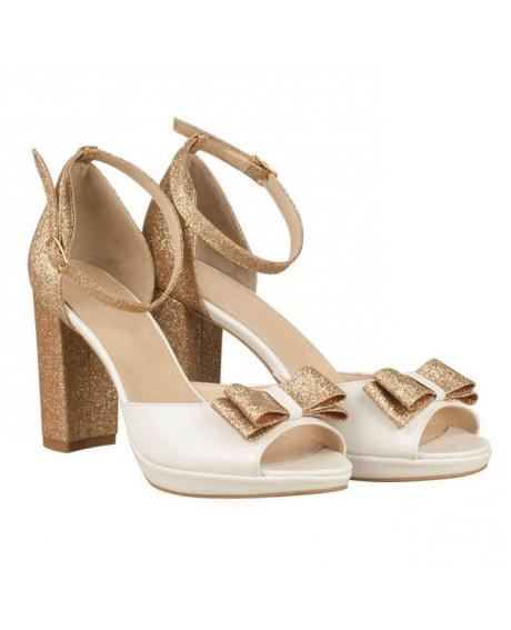 Sandale piele Ariel aurii N65 - sau Orice Culoare