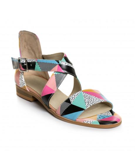 Sandale multicolore din piele naturala Delia V5