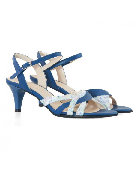 Sandale albastre din piele naturala Adele D8 - sau Orice Culoare