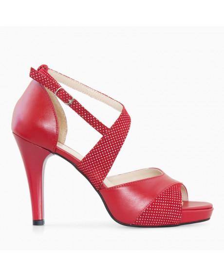 Sandale rosii din piele naturala Esther D109 - sau Orice Culoare