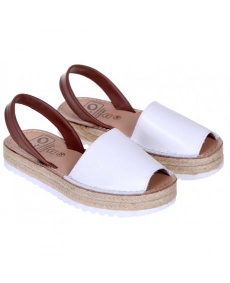 Sandale piele Avarca Albe cu platforma
