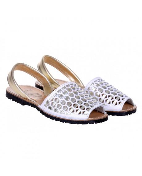 Sandale piele Avarca alb/auriu