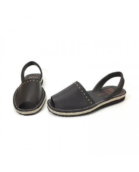 Sandale piele Avarca Retro negre