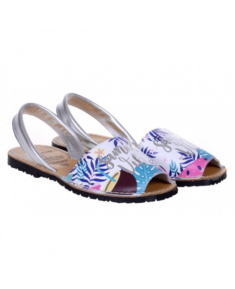 Sandale piele Avarca Summer Albe