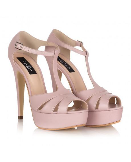 Sandale piele Liz roz pudra M120 - sau orice culoare