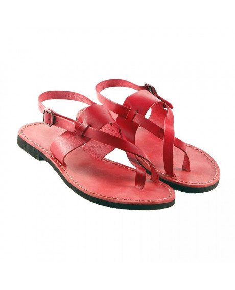 Sandale piele model Perla rosu