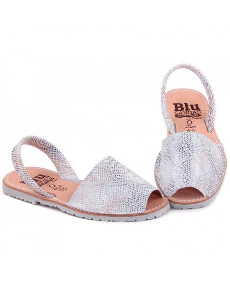 Sandale piele Avarca argintiu imprimat
