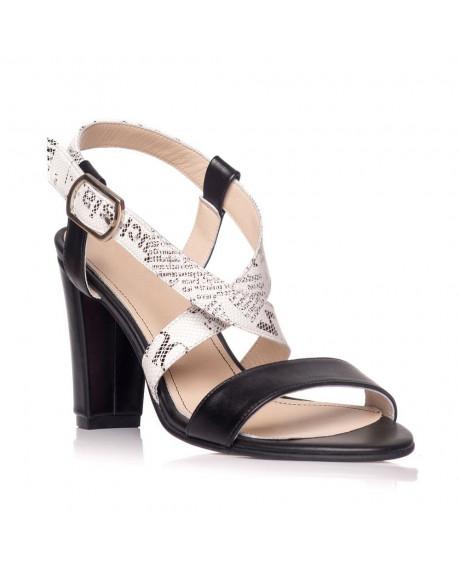 Sandale piele naturala Fiorella imprimeu ziar S7 - sau orice culoare