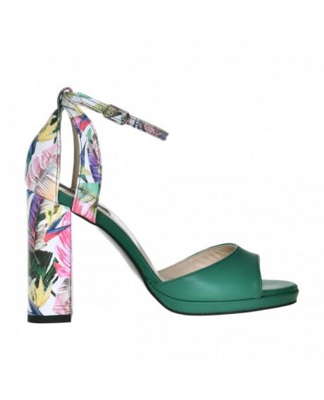 Sandale piele verzi Beth S53 - sau Orice Culoare