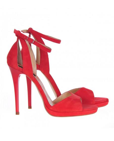 Sandale rosii Style piele intoarsa S110 - sau Orice Culoare
