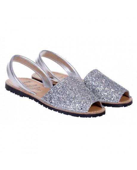 Sandale piele Avarca argintii glitter