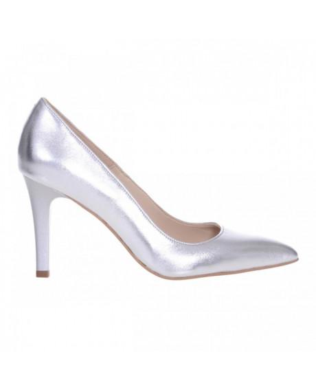Pantofi Stiletto argintii din piele naturala Nadine S109 - sau Orice Culoare