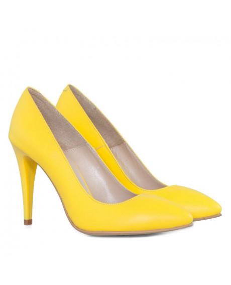 Pantofi piele Stiletto Class galben D1 - sau Orice Culoare